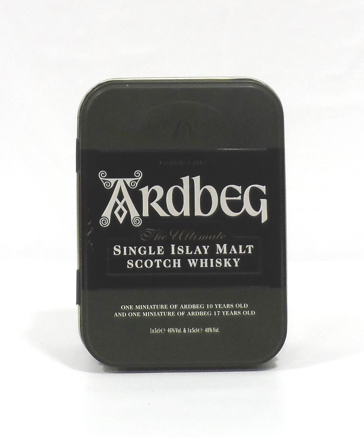 ARDBEG MINIATURE TIN A great wee tin with two miniatures: one Ardbeg 17 Year Old Single Malt - Image 2 of 2