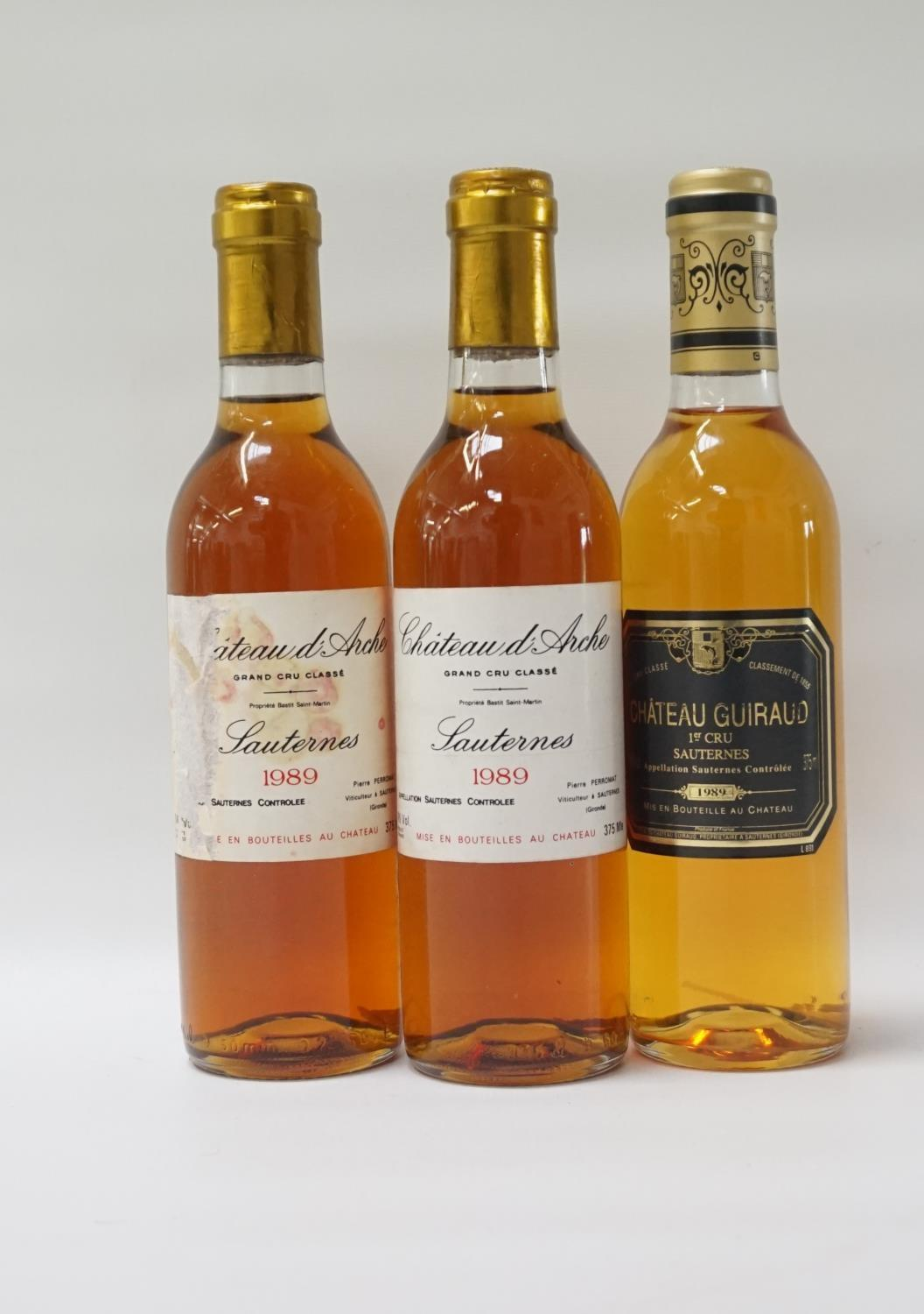 THREE BOTTLES OF VINTAGE SAUTERNES A selection of three bottles of Sauternes, comprising: two