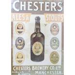 FRAMED ADVERTISING POSTER FOR CHESTERS BREWERY CO. LTD. A framed advertising print for the