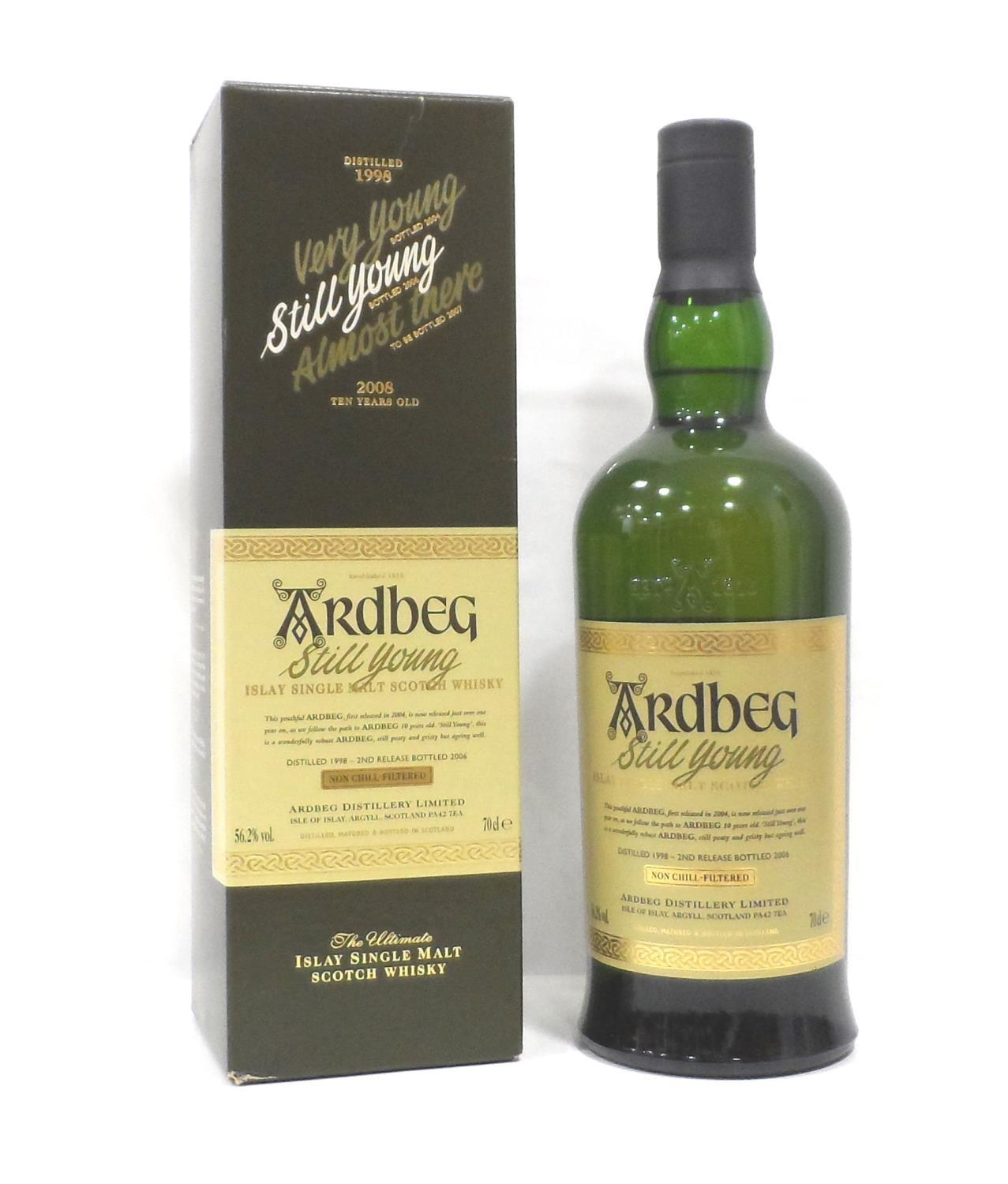 ARDBEG STILL YOUNG Whilst waiting for the spirit to mature at the re-opened Ardbeg Distillery they