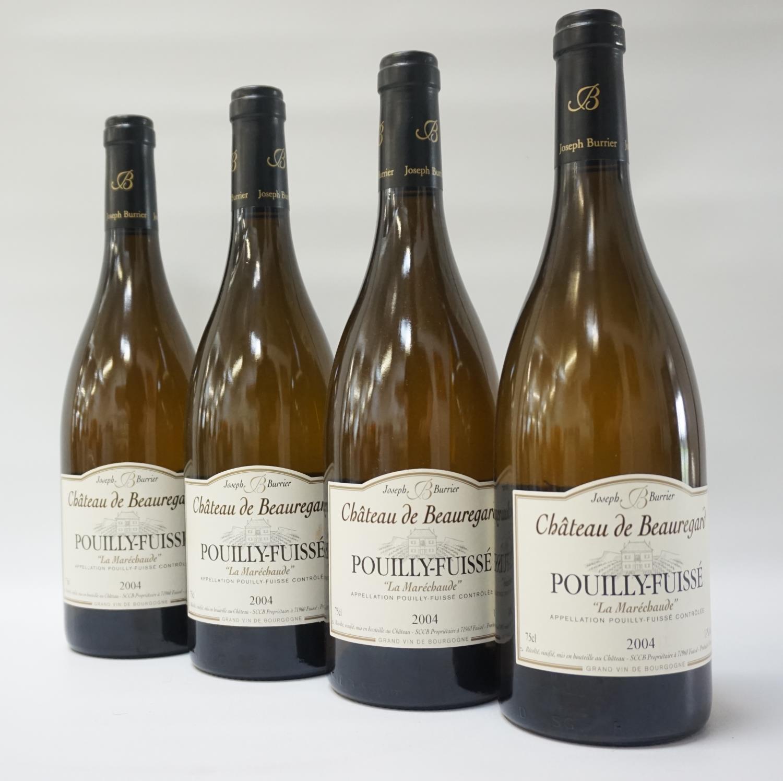 """CHATEAU DE BEAUREGARD POUILLY-FUISSE """"LA MARECHAUDE"""" 2004 VINTAGE Six bottles of classic French"""