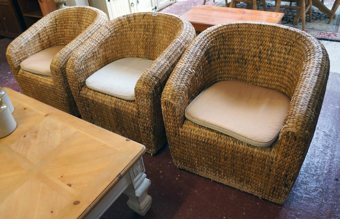 set of 3 wicker tub chairs with habitat cushions