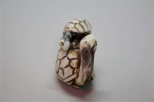 A Japanese Carved Bone Or Ivory Netsuke Of A Two Tortoises Signed 4 2cm Long Together With A J