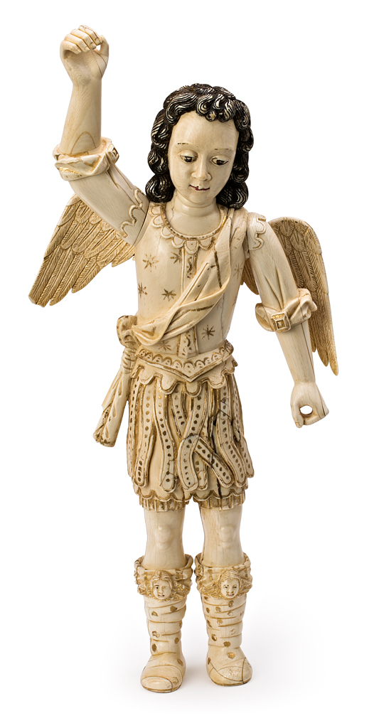 Lot 657 - Hispano-Philippine school of the 17th Century Saint Michael the Archangel Sculpture in carved ivory,