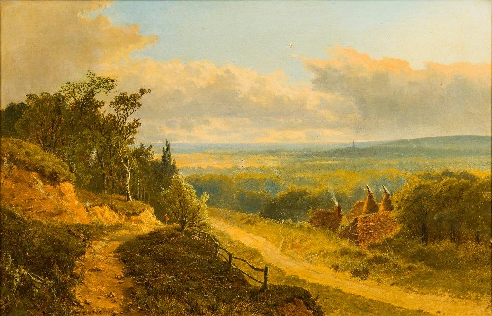Lot 806 - EDWARD H NIEMANN (flourished 1863-1887) British Kent Oast Houses Oil on canvas, signed, framed.