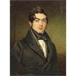 λ English School 19th Century Portrait miniature of a gentleman, half length wearing black
