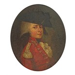 English School 18th Century An officer, head and shoulders in red uniform Oil on panel, oval 170 x