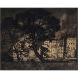 Sir Frank Brangwyn R.A. (1867-1956) Trees and factory, Hammersmith Signed Etching 33 x 40cm; 13 x