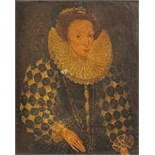English school 17/18th Century Portrait miniature of Queen Elizabeth I Half length On paper stuck