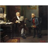 Lot 328 - Continental School 19th Century Reading the Will Bears signature Oil on canvas 55.5 x 68.5cm; 22 x