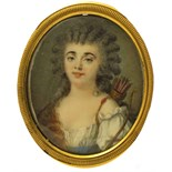 λ Attributed to Peter Adolf Hall (Swedish 1739-1793) Portrait miniature of the actress Madame
