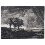 Capt. William E. Baillie (Irish 1723-1810) After Rembrandt The Three Trees Etching 21 x 28cm; 8¼ x