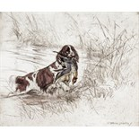 ‡ George Vernon Stokes (1873-1954) Border terriers; A wet retrieve; A kingfisher 3, all signed and