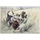 ‡ Henry Wilkinson (1921-2011) Bassett hounds Signed and numbered 73/75 Drypoint etching in colour 25
