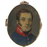λ Continental School 19th Century Portrait miniature of an officer in blue uniform with red collar