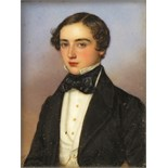 λ Jakob Spelter (German fl 1820-1856) Portrait miniature of a young man, half length Signed and
