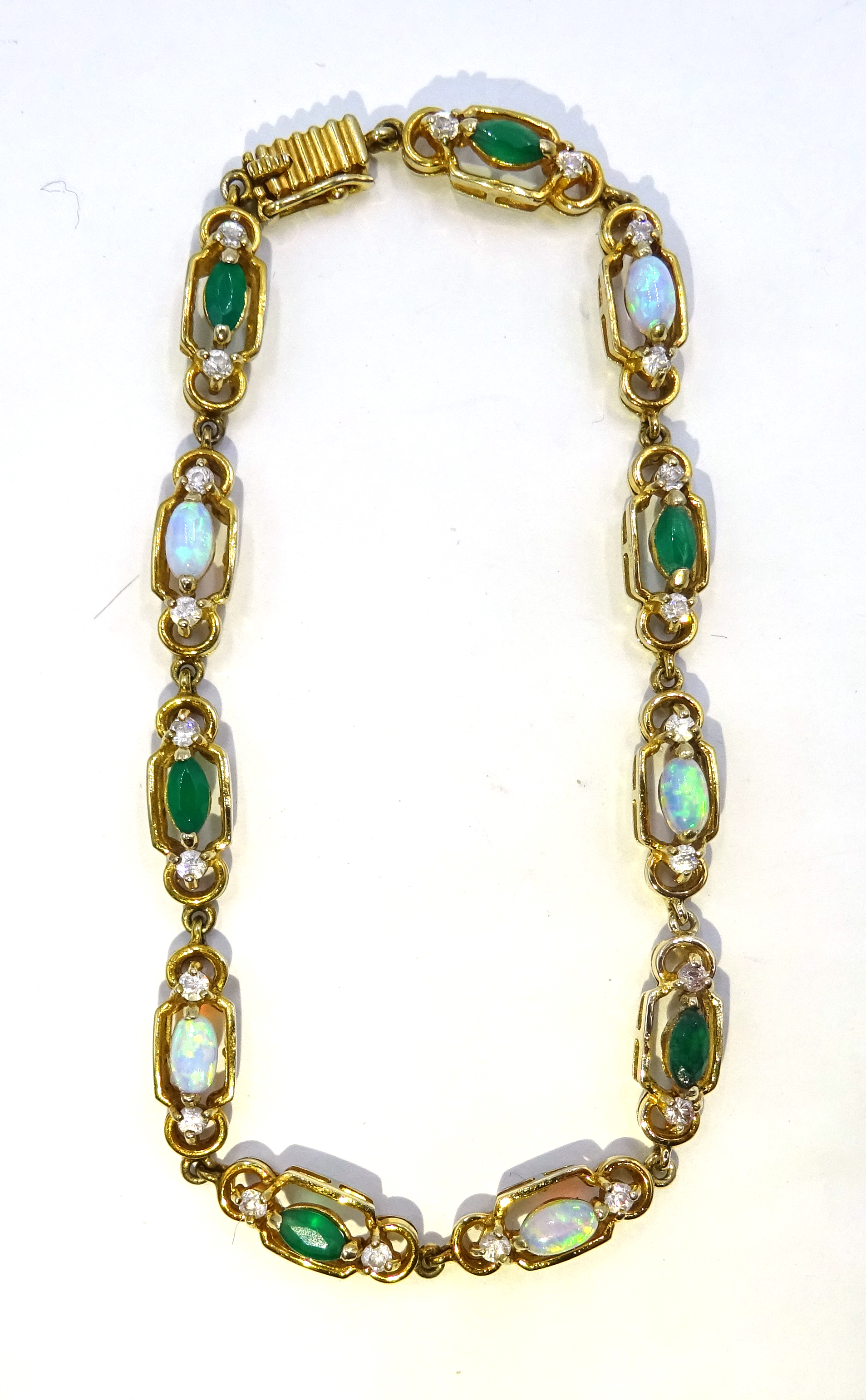 Lot 1043 - 9ct gold opal, green agate and cubic zirconia bracelet,