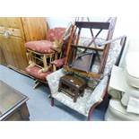 A FIRESIDE ROCKING CHAIR AND STOOL AND ANOTHER FIRESIDE ARMCHAIR (3)