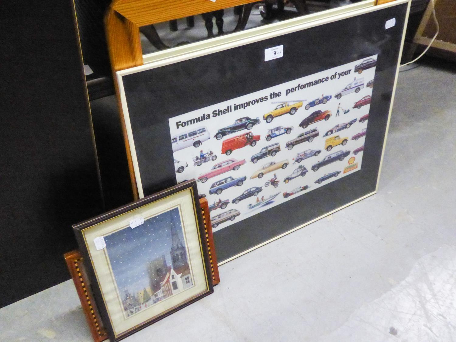 A COLOUR PRINT 'FORMULA SHELL IMPROVES THE PERFORMANCE OF YOUR', A PINE FRAMED MIRROR AND TWO