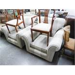 AN AS NEW PAIR OF ARMCHAIRS, WITH SCROLL ARMS, PADDED THROUGHOUT WITH GREY AND CREAM STRIPED CORD