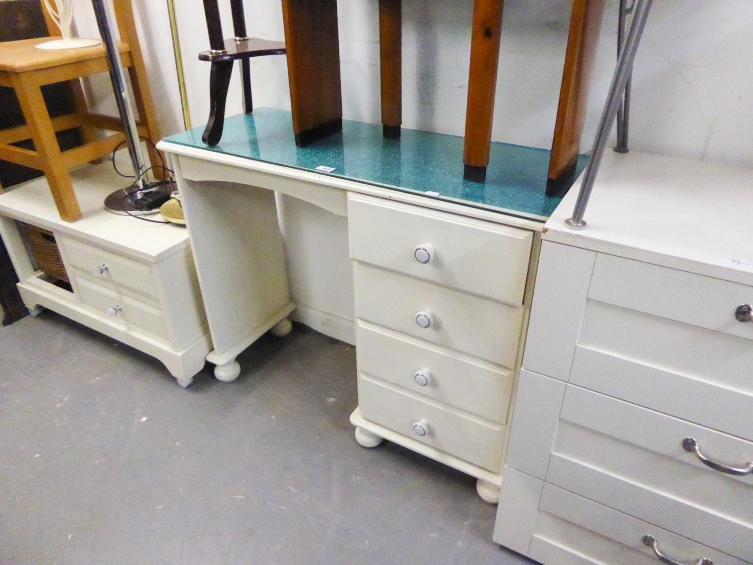 A WHITE PAINTED PINE SINGLE PEDESTAL DRESSING TABLE, WITH FOUR DRAWERS ON BUN FEET, A PAIR OF GREY
