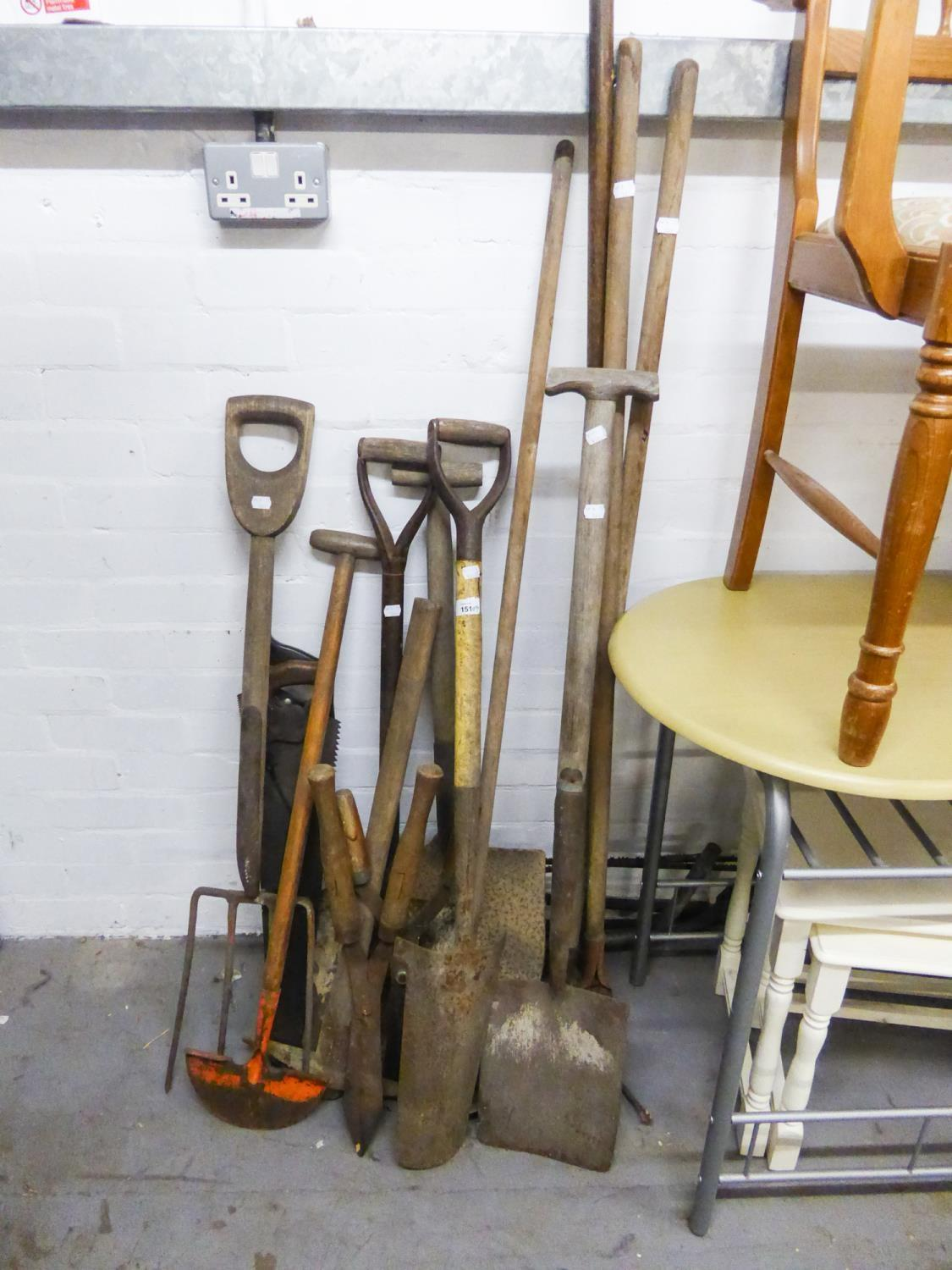 Lot 151 - A LARGE QUANTITY OF GARDEN TOOLS TO INCLUDE; SAWS, SPADES, FORKS, RAKES ETC.....