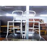 PAIR OF WHITE PAINTED BALOON BACK SINGLE CHAIRS
