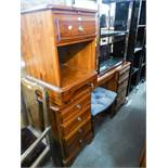DUCAL PINE DRESSING TABLE, MIRROR AND STOOL AND A BEDSIDE CUPBOARD (4)