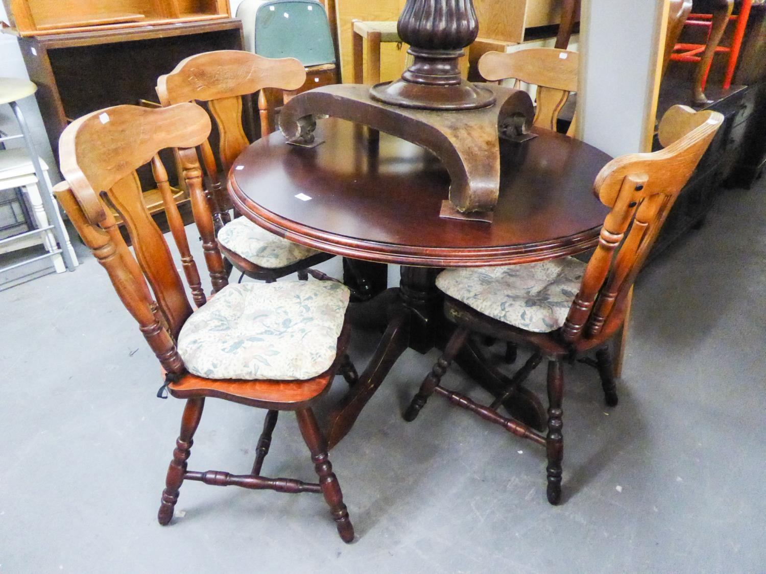 Lot 69 - A MODERN CIRCULAR BREAKFAST TABLE AND FOUR MATCHING CHAIRS