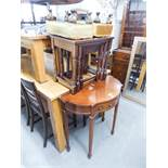A REPRODUCTION DEMI-LUNE TABLE, A PAIR OF SMALL STOOLS, AN OAK NEST OF TABLES