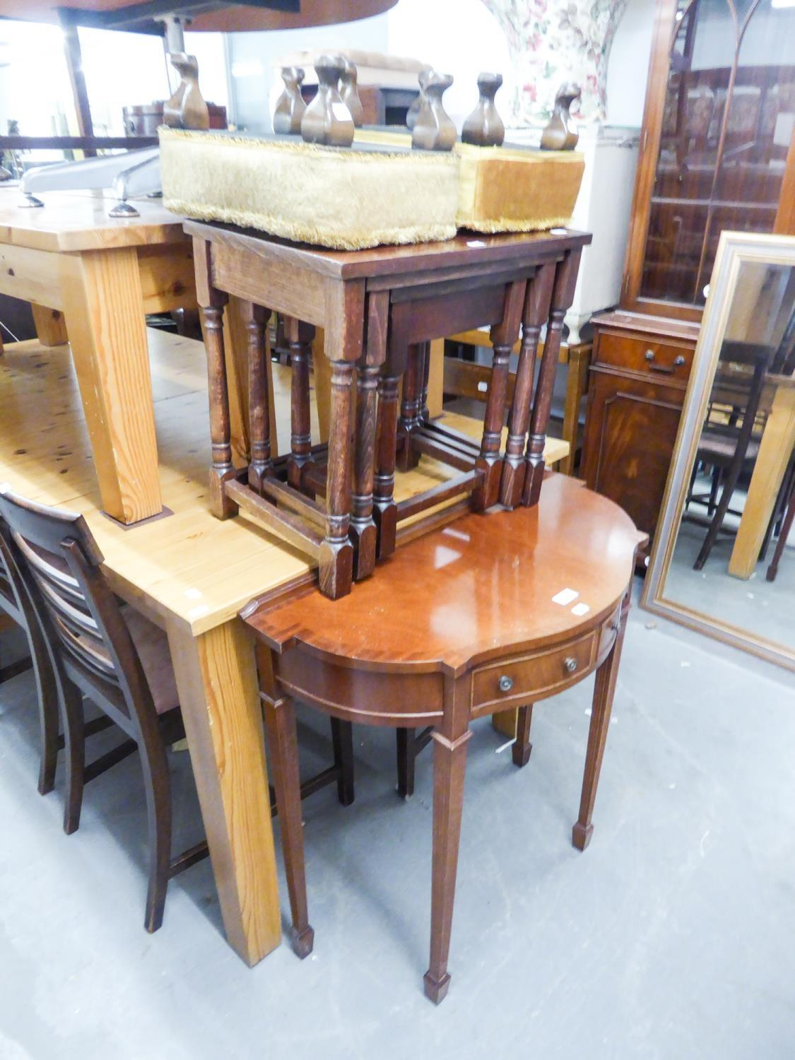 Lot 61 - A REPRODUCTION DEMI-LUNE TABLE, A PAIR OF SMALL STOOLS, AN OAK NEST OF TABLES