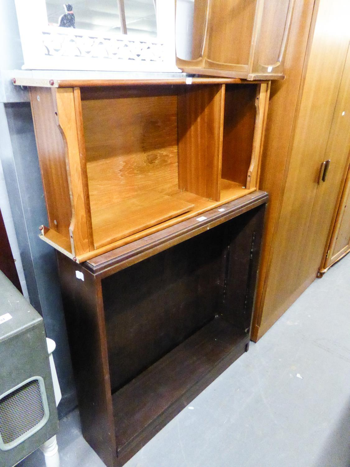 TWO SMALL OPEN BOOKCASES AND A SMALL OCCASIONAL TABLE (3)