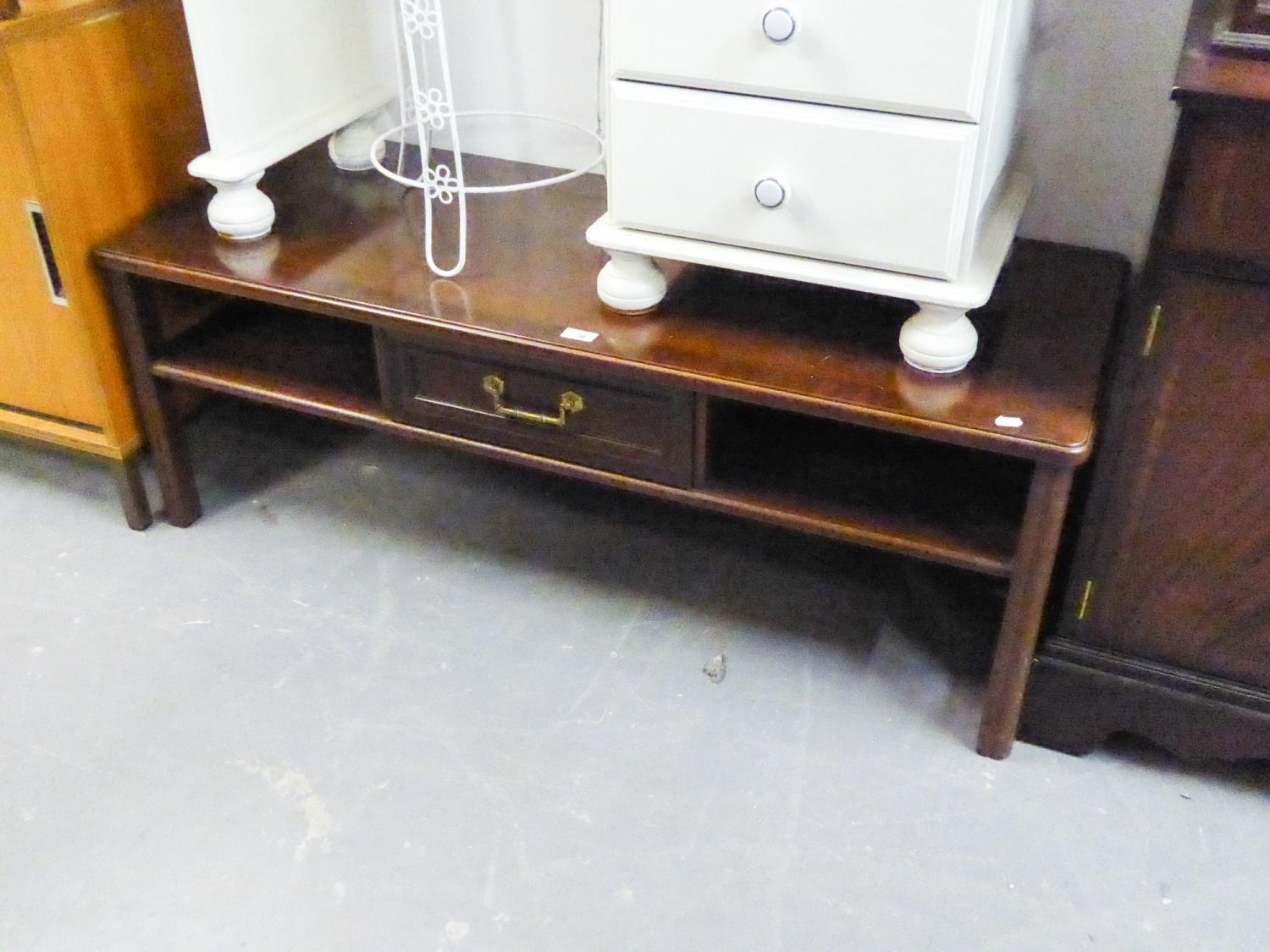 Lot 38 - MAHOGANY OBLONG LONG JOHN COFFEE TABLE, FITTED UNDERSHELF AND ONE SMALL DRAWER