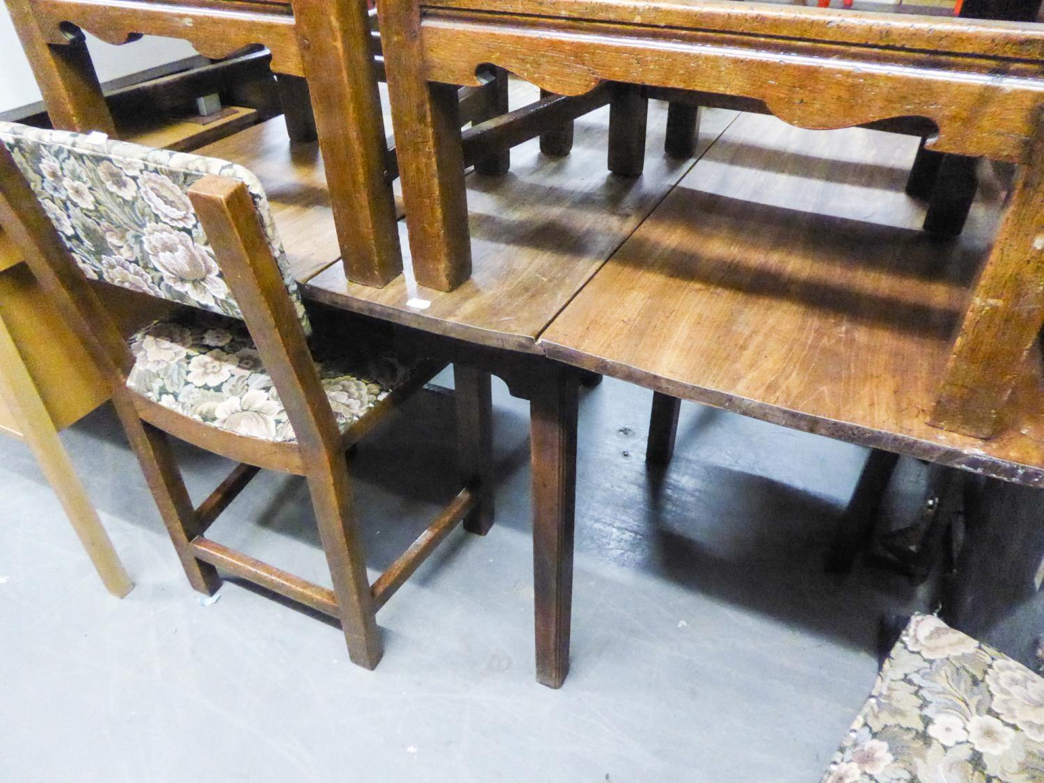 Lot 66 - NINETEENTH CENTURY MAHOGANY OBLONG FALL-LEAF DINING TABLE, on four chamfered straight legs