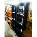 PAIR OF MODERN BLACK HIGH GLOSS FINISH OPEN BOOKCASES AND A THREE TIER SIDE TABLE WITH GLASS SHELVES