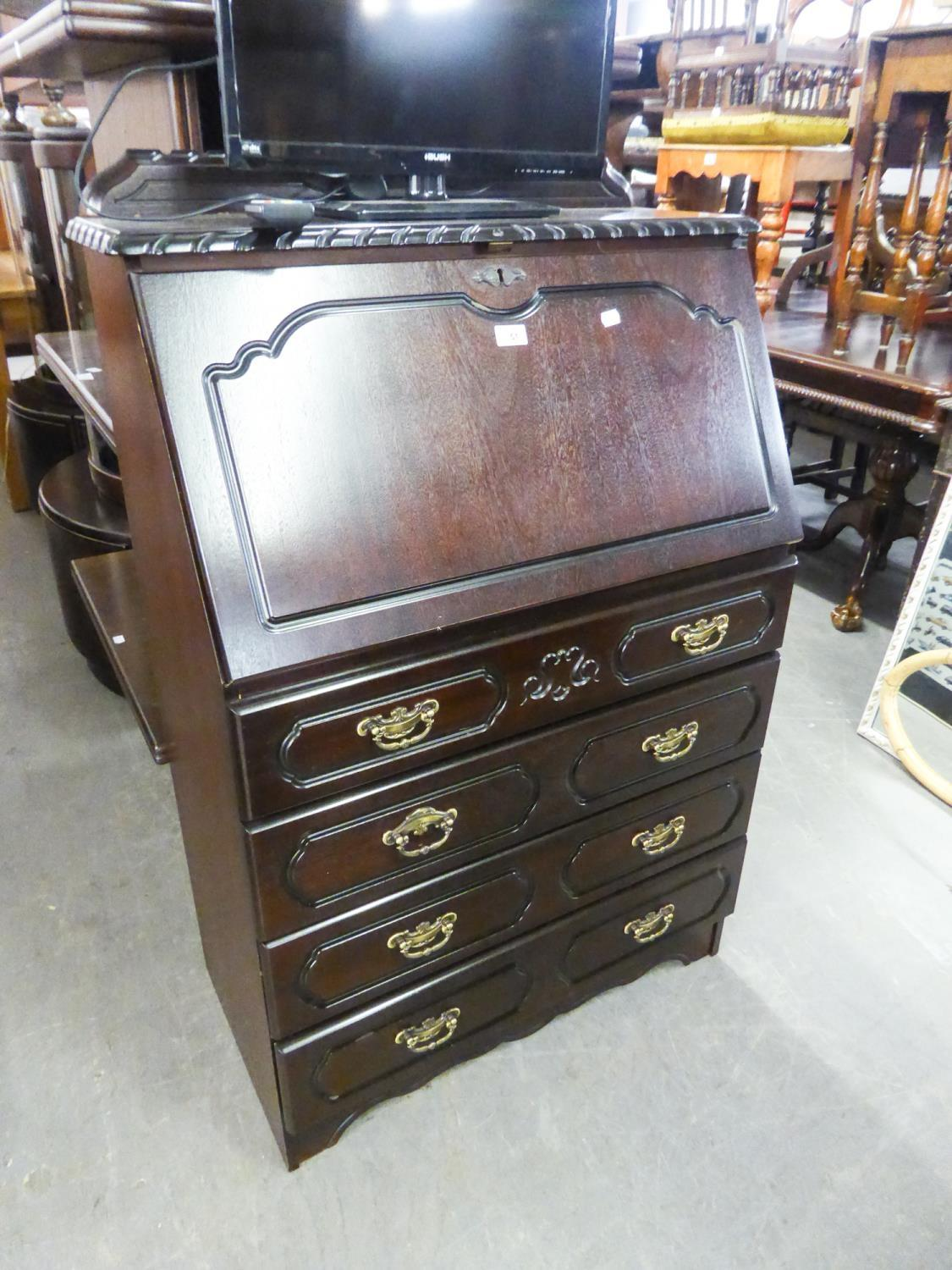 REPRODUCTION BUREAU WITH RAISED SHAPED BACK OVER SLOPE FRONT HAVING FOUR GRADUATED DRAWERS