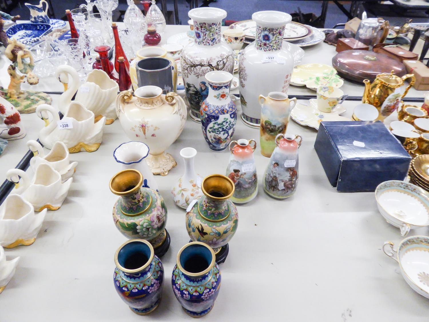 """Lot 337 - PAIR OF CHINESE PORCELAIN VASES, 12"""" HIGH, TWO PIAIRS OF ORIENTAL CLOISONNE VASES, 6"""" AND 5"""" HIGH"""