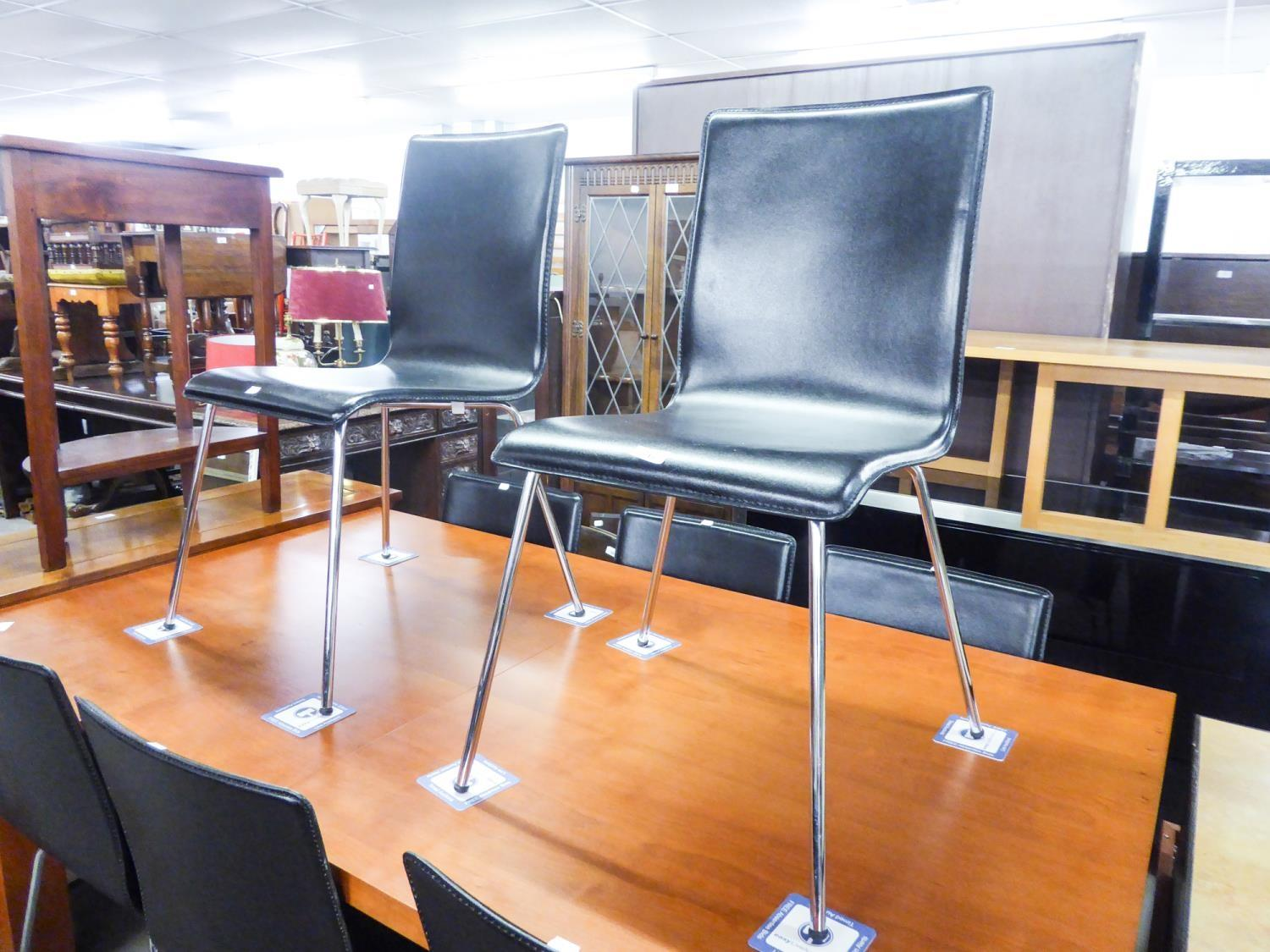 SET OF EIGHT MODERN BONDED LEATHER DINING CHAIRS, ON CHROME LEGS