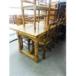 LARGE OAK DRAW LEAF DINING TABLE, WITH PLANKED TOP, RAISED ON TURNED SUPPORTS, WITH 'H' STRETCHER