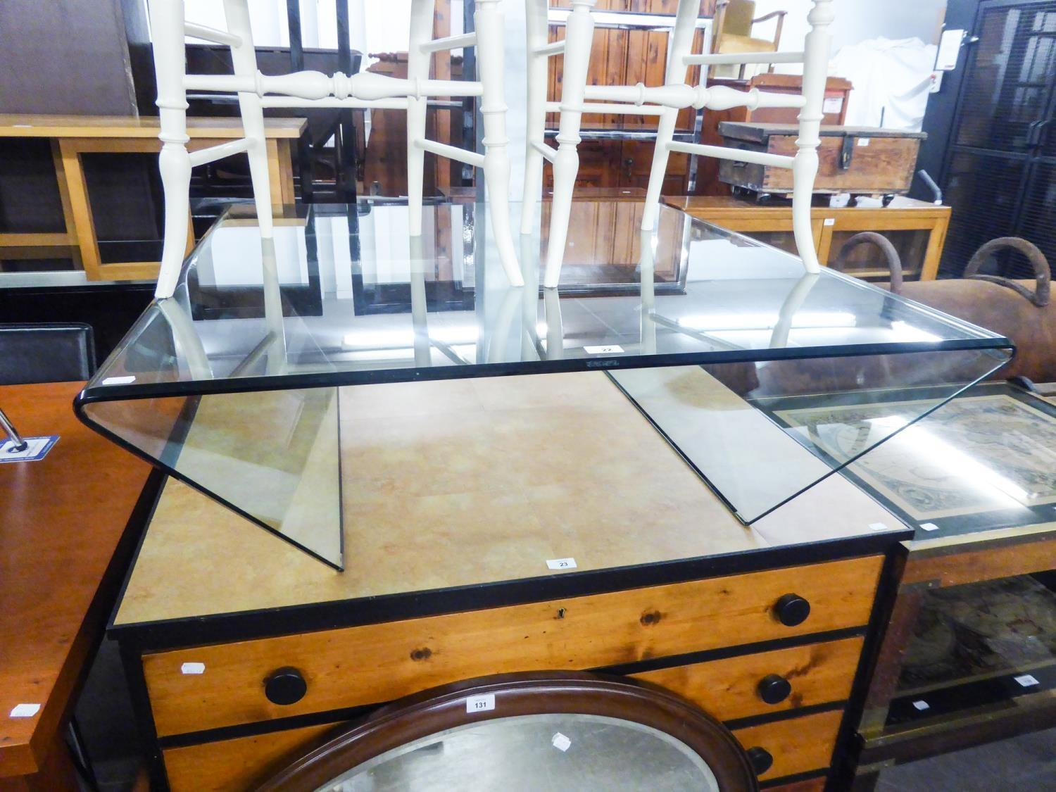 LARGE STYLISH GLASS COFFEE TABLE, 105CH WIDE X 100CM LONG X 34CM HIGH