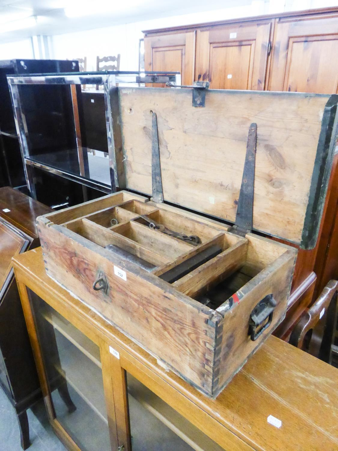 Lot 152 - A SMALL PINE FITTED TOOL BOX WITH CONTENTS