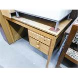 A LIGHT WOOD MODERN DESK, WITH FITTED THREE DRAWER PEDESTAL AND A LIGHT WOOD MODERN BOOKCASE (2)