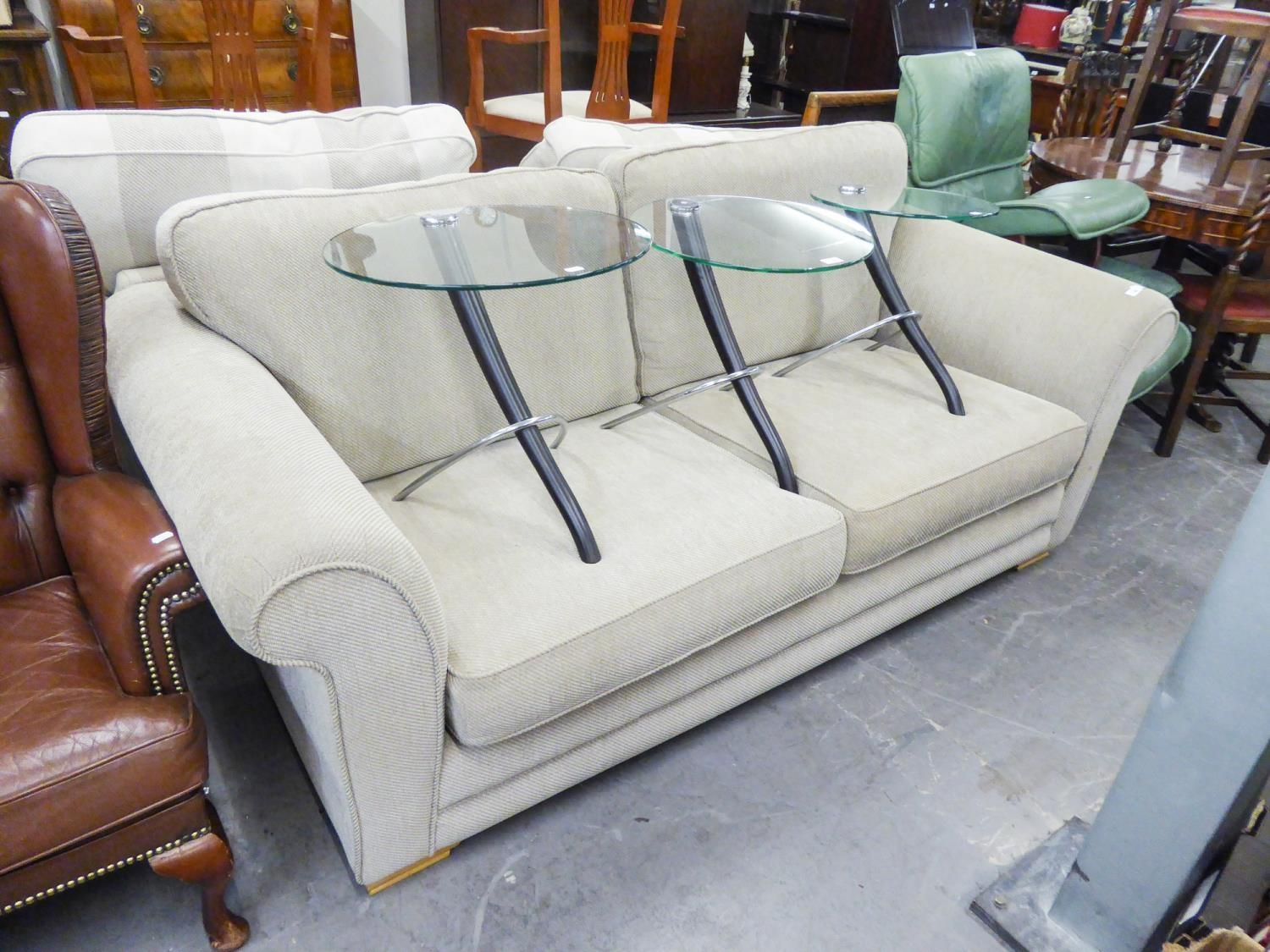 AN AS NEW MODERN THREE SEATER SETTEE IN FAWN CORD UPHOLSTERY