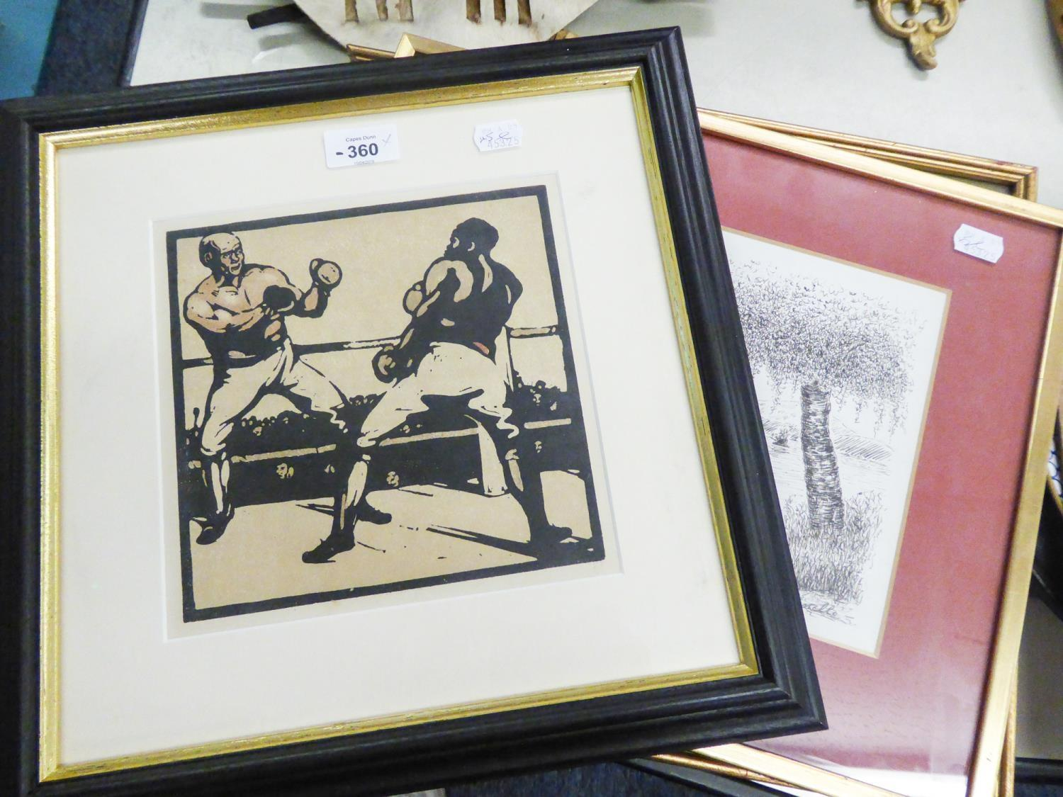 Lot 360 - AFTER WILLIAM NICHOLSON, COLOUR PRINT OF A WOODCUT, TWO BOXERS, together with a STOCKDALE MAP OF