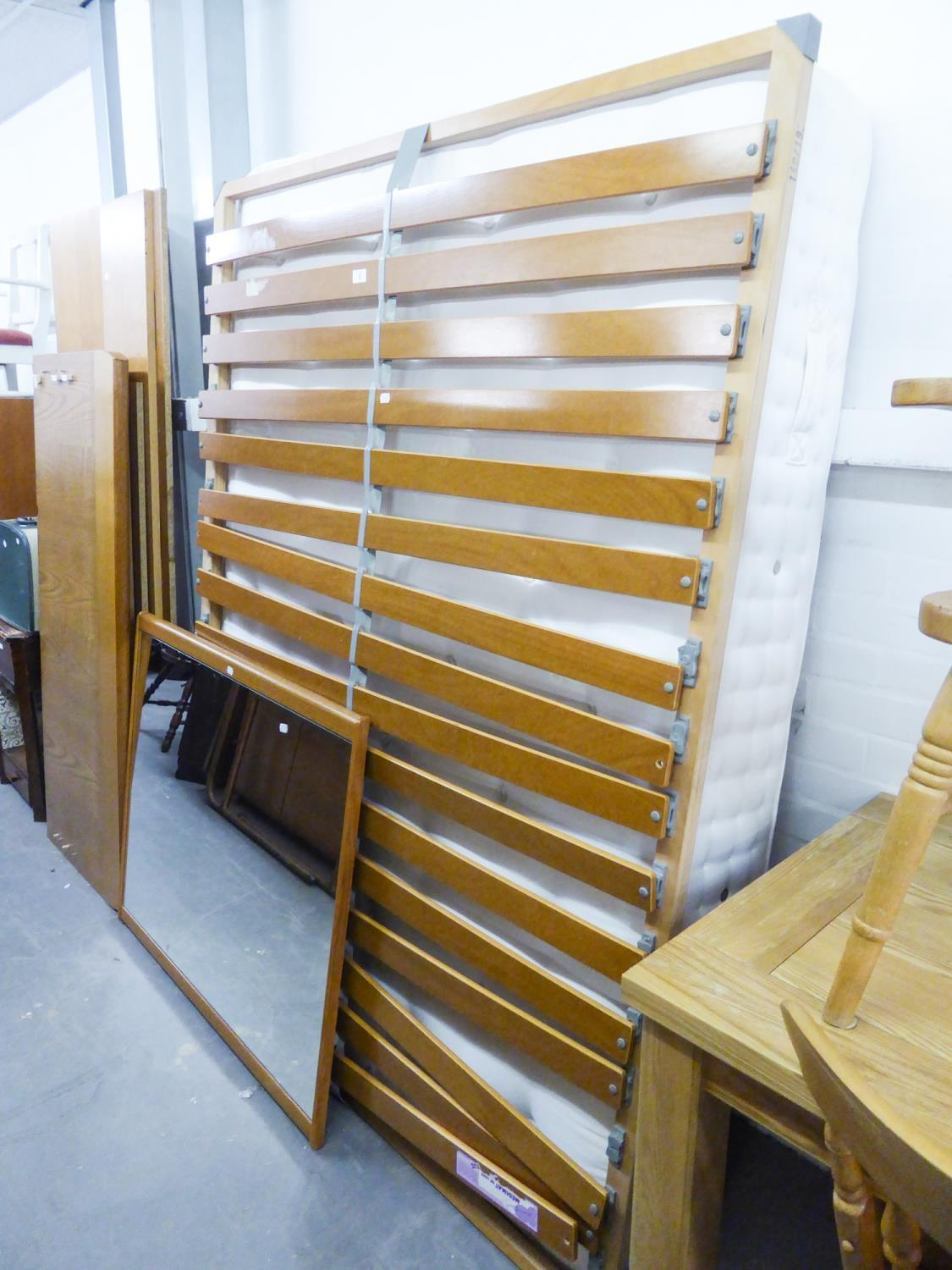 Lot 2 - A GOOD QUALITY 'MOSER' LIGHT OAK DOUBLE BED TO INCLUDE A M & S MATTRESS