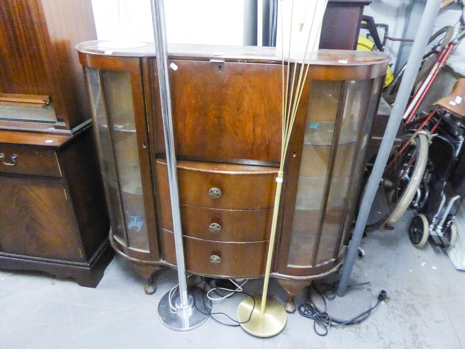 Lot 71 - A SIDE BY SIDE BUREAU BOOKCASE, THE CENTRE HAVING DROP FRONT OVER THREE DRAWERS FLANKED BY TWO