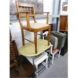 TWO OPEN ARMCHAIRS, TWO OBLONG WHITE PAINTED COFFEE TABLES AND A METAL FRAMED TABLE