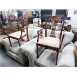 A PAIR OF REPRODUCTION CARVER CHAIRS, WITH PIERCED WAISTED BACK SPLAT OVER DROP IN PAD SEAT (2)