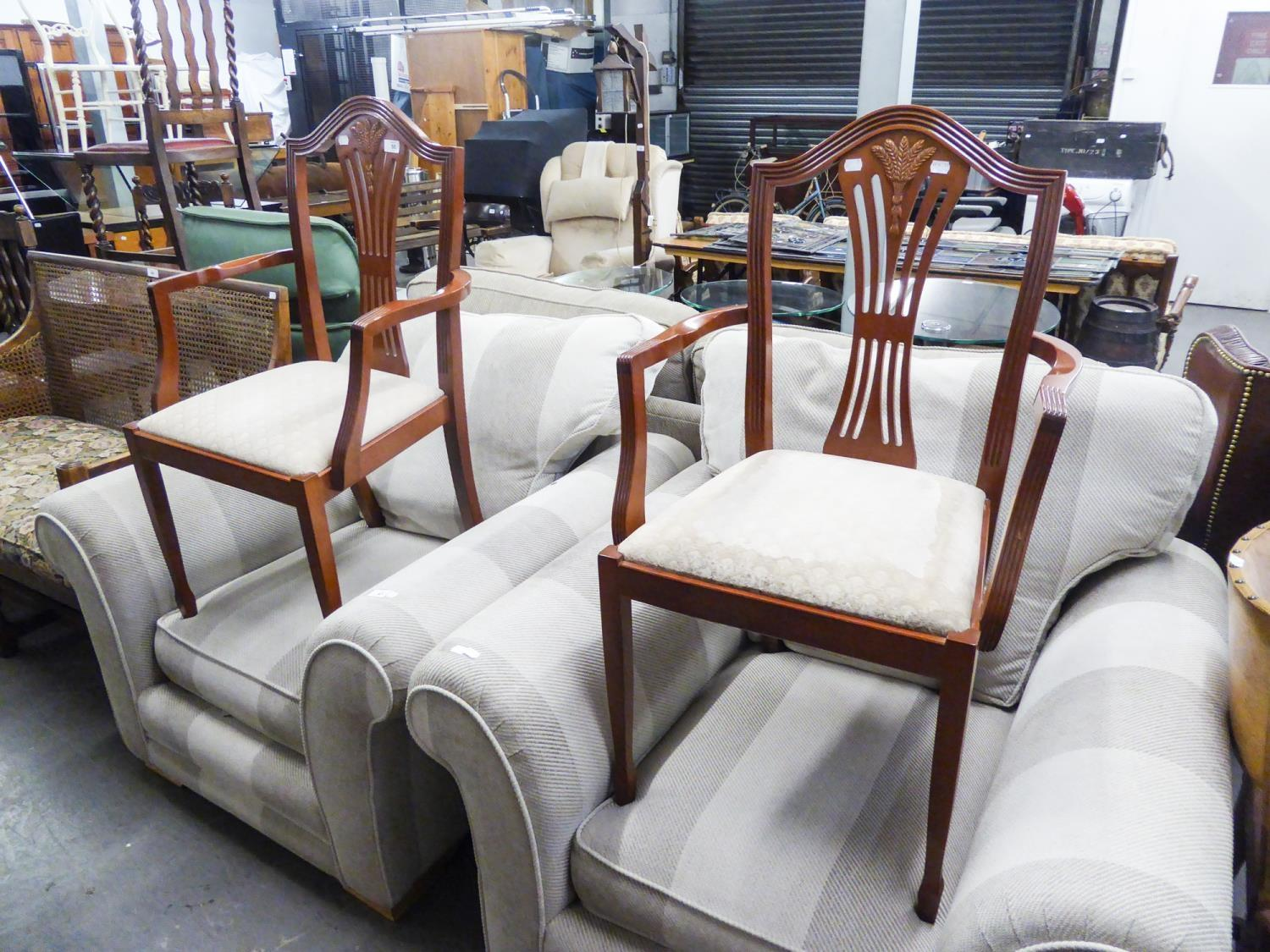 Lot 50 - A PAIR OF REPRODUCTION CARVER CHAIRS, WITH PIERCED WAISTED BACK SPLAT OVER DROP IN PAD SEAT (2)