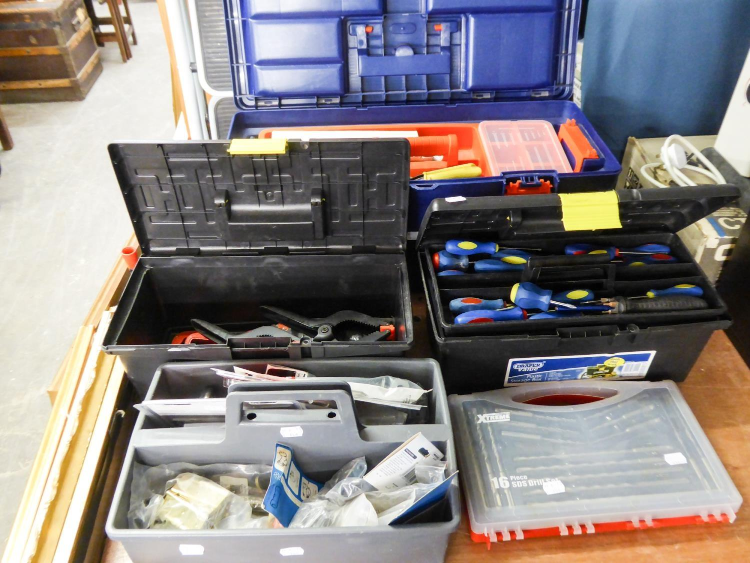 Lot 154 - LARGE TOOL BOX AND CONTENTS, TWO SMALLER TOOL BOXES AND CONTENTS, SDS DRILL BITS AND A TOOL TIDY